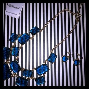 Jewelry - Majestical Blue Faux Gem Necklace with Earrings